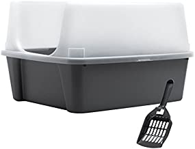 IRIS Clean Pet Cat Kitty Open Top Large Cats Litter Box with Shield and Scoop