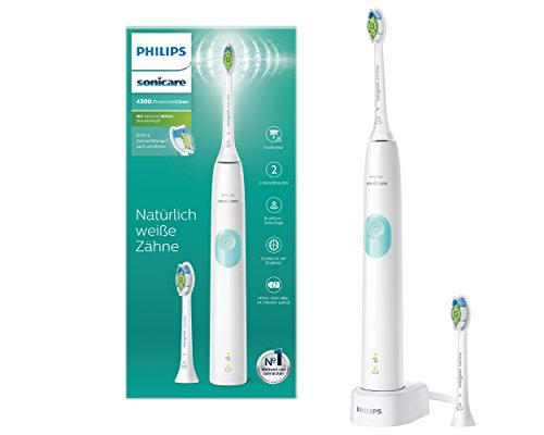 Philips Sonicare ProtectiveClean 4300 elektrische Zahnbürste HX6807/51 – Schallzahnbürste mit Clean-Putzprogamm, Andruckkontrolle & Timer – Weiß