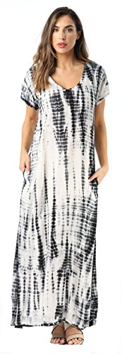 Riviera Sun Casual Short Sleeve Maxi Dress with Side Slit 21771-BLK-1X Black/White