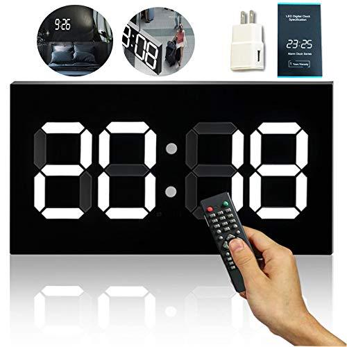 Groß Digitale wanduhr Fernbedienung Elektronik Uhr mit Countdown-Funktion Wecker, 3D LED Wanduhr Automatische Helligkeitsanpassung, Kalender, Thermometer für Büro, Schlafzimmer,Weiß