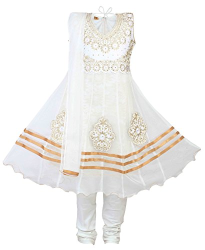 Ashwini Girls Netted Embroidery White Salwar