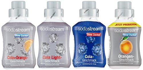 SodaStream 4er Sirup-Packung, Cola ohne Zucker, Orange ohne Zucker,Cola Light, Cola-Mix ohne Zucker (4 x 500ml)