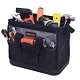 MEIJIA Portable Wide Mouth Waterproof Tool Bag,Multi-pocket with Water Proof Molded Base and Adjustable Shoulder Strap,Suitable for Electrician, Woodworking,worker,repairman, plumber, framer (12')