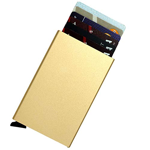 Portafoglio per carte di credito Pop Up, blocco RFID, elegante porta carte di credito sottile e minimalista, mini custodia in metallo alluminio (oro)