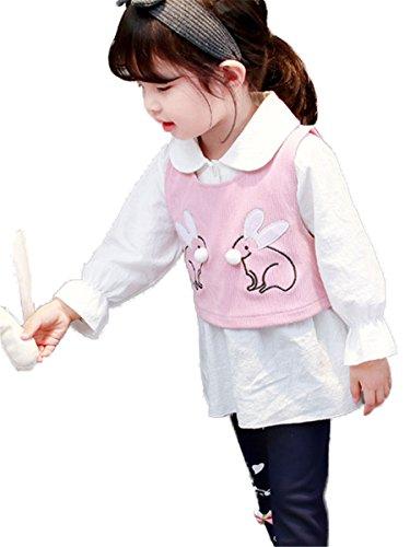 3 szt. dzieci dziecko maluch dziewczynki urocza kamizelka królik biała bluzka topy + kokardka kreskówka spodnie zestaw strojów