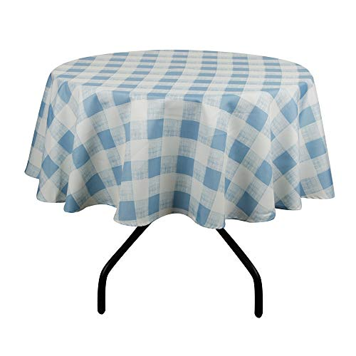 "Lahome Checkered Round Tablecloth - Spillproof Water Resistant Polyester Plaid Tablecloth Table Cover for Kitchen Dining Room Restaurant Party Picnic Decoration (Blue, Round - 60"")"