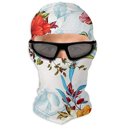 NOBRAND volledig gezicht masker Rose nachtegaal vogels met bladeren kap zonnebrandcrème masker dubbele laag koud voor mannen en vrouwen