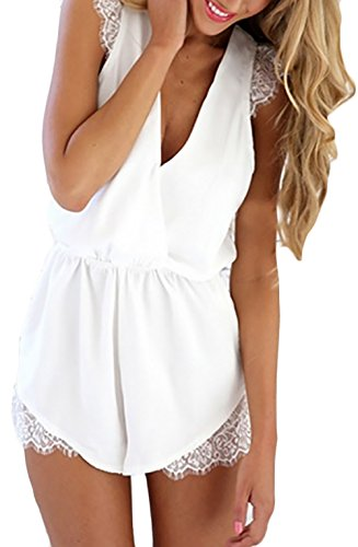 Playsuit dames korte zomer overall vintage effen kleuren mouwloos diepe V-hals kant splits elastische taille jumpsuits rimper kleding broekpak