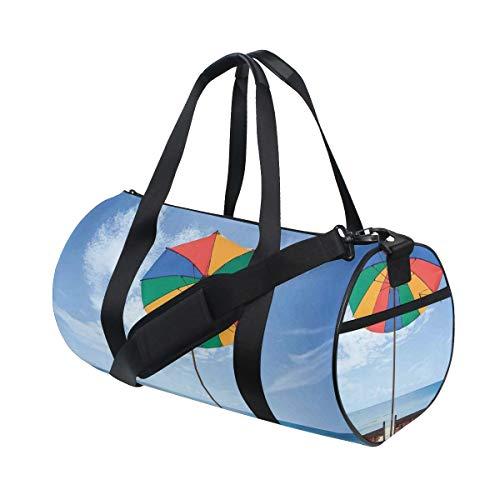 HARXISE Bolsa de Viaje,Par de sillas y Coloridas sombrillas en la Playa Vacaciones en la Playa Viajes,Bolsa de Deporte con Compartimento para Sports Gym Bag