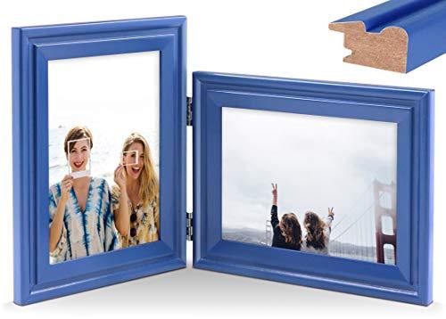 JD Concept Combo Vertical Horizontal de 13x18 cm, Marco de Fotos Doble de Madera con bisagra, Montaje en Pared o Escritorio, Retrato y Paisaje, Panel de Cristal, Azul Marino