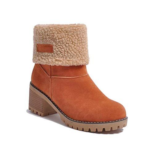 Minetom Botas de Nieve Mujer Tacón Medio Botines Botita Moda Felpa Peluche Caliente Antideslizante Impermeable Zapatos Invierno Boots Naranja 39 EU