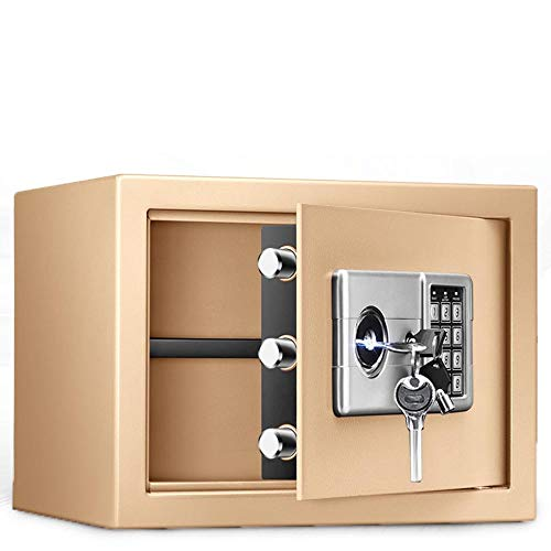 Lwieui Cajas Fuertes Gabinete Digital Caja Fuerte de Acero sólido con Bloqueo de Teclas for Ministerio del Hotel joyería A Salvo (Color : Gold, Size : 25x35x28cm)