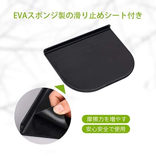 『ZepSon モニターアーム補強プレート 取付部硬さ強化対策 デスク保護 傷防止 滑り止めシート付き (黒色)』の1枚目の画像