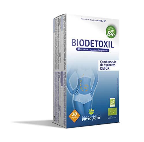 PHYTO-ACTIF - Biodetoxil BIO, integratore alimentare biologico, detox, depurazione, ideale in cambi di stagione, 20 fiale da 15 ml.