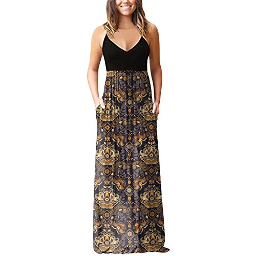 SEWORLD Women Summer Casual Maxi Dress V Neck Short Sleeve Floral Printing Vest Top Dresses with Pockets Khaki