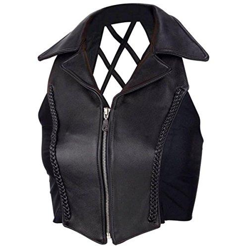 Chaleco Piel Chaqueta Moto Biker Mujer con Cuello Custom Vest Top