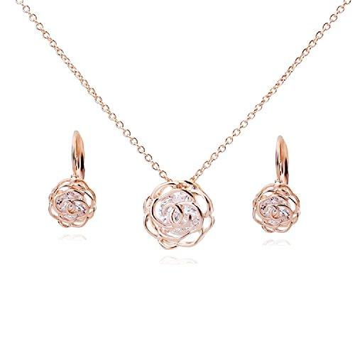 Crystalline Azuria Rose Blumen Crystals from Swarovski Schmuck-Set Halskette Anhänger 45 cm Leverback Ohrringe 18 kt Rose Vergoldet für Damen