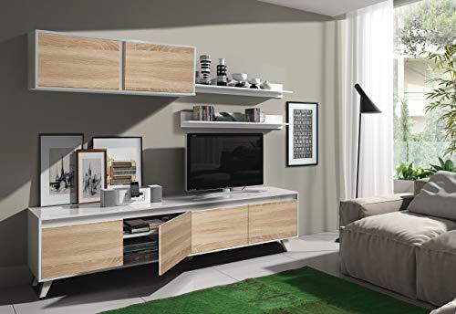Dmora Parete Attrezzata per Soggiorno, Set Salotto TV con mensole e Mobile pensile, Rovere e Bianco Lucido, 200 x 41 x 85 cm, Unico
