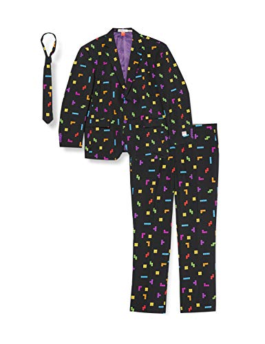 OppoSuits Herren Opposuits Funny Prom Suits For Men ? Tetris? Comes With Jacket, Pants And Tie in Funny Designs M nneranzug, Black, 60 EU