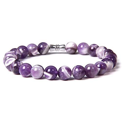 Mujeres Naturales Hombres Amatistas Púrpuras Limpias Quarzt Crystal Stone Pulsera Joyería Amistad Yoga Mala DIY Pulseras-1 Dream Amethyst, 19Cm