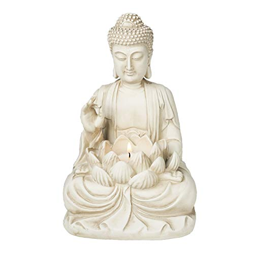 "Bella Haus Design Buddha Tealight Candle Holder Statue – 8.5"" Tall Polyresin - Zen Home and Garden Decor - Includes 3pcs Tea Lights and Free Candle Snuffer for Office, Indoor, Outdoor Decoration"