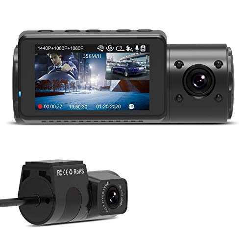 VANTRUE N4 3 Lens Dashcam 1440P + Dual 1080P, visione notturna a infrarossi, 2592x 1520P anteriore, parcheggio 24/7, WDR 2,45 pollici IPS, super condensatore resistente al calore, sensore G max 256GB