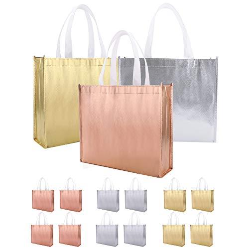 12 Bolsas de Regalo Grandes con Asa (Oro, plata, oro rosa) B