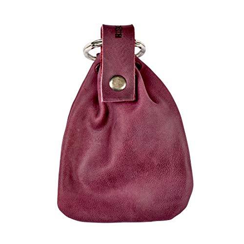 Hide & Drink, Leather Mini Medieval Pouch Keychain, Coin Organizer, Change Holder, Accessories, Handmade :: Sangria