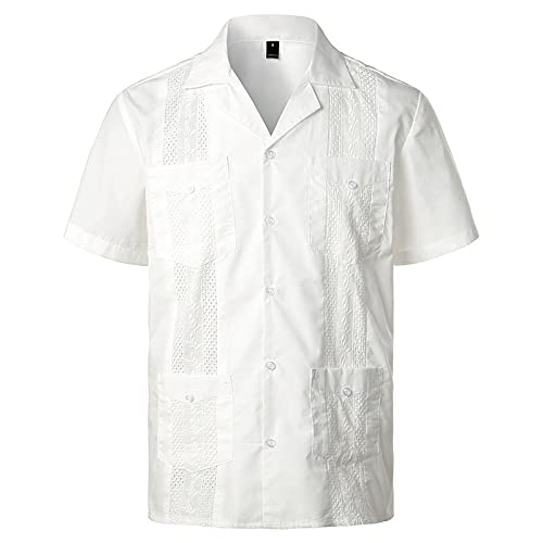 Camisa T-Shirt Camisa Guayabera Cubana De Manga Corta Para Hombre, Camisas De Cuello Inverso De Lino Y...