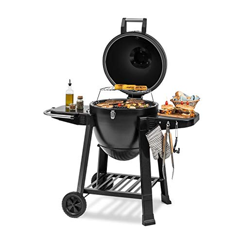 Klarstein Duomo Kamado Grill Chef Edition - For Grilling, Slow Cooking, Smoking or Baking, Storage for Barbecue Utensils, Materials: Powder-Coated Steel, Cast Iron and Ceramic, 0-350 ° C, Two Rollers