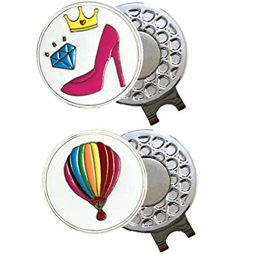 FINGER TEN Golf Ball Markers 3 Pcs with 2 Pack Hat Clip Value Gift Set, Mark Pattern USA, Eagle, Ribbon in Choice for Men Women Kid (High Heel and Hot Air Balloon)