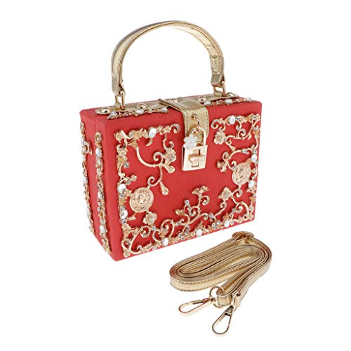 Hellery Chic Women's Embossed Evening Bag Cocktail Banquet Prom Shoulder Tote Bag - Red