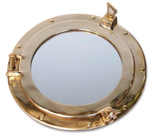 zeitzone Bullauge Spiegel Nautik Messing Maritim Schiff Nostalgie Antik-Stil 29 cm rund