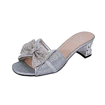Floral Farrah  DP843  Women s Wide Width Rhinestone Bow Slip-On Block Heel Sandals Silver 11