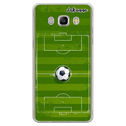 dakanna Funda para Samsung Galaxy J5 2016 | Campo y balón de fútbol | Carcasa de Gel Silicona Flexible Transparente