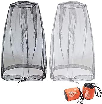 Anvin Moustiquaire Filet de Tête de Moustique, Mosquito Head Net Mesh, Masque moustiquaire extérieur,pour tout amateur de plein air - avec sacs de transport (2 pièces, gris noir)