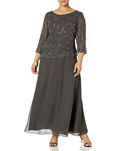 J Kara Women's Plus Size Long Scoop Neck Dress with 3/4 Sleeve Beaded Top, Slate/MERC/Gun, 18W