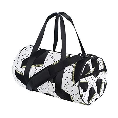 ZOMOY Sporttasche,Raster Black Grand Piano Pattern,Neue Druckzylinder Sporttasche Fitness Taschen Reisetasche Gepäck Leinwand Handtasche