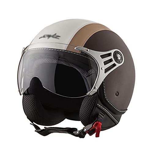 DLXYch Medio casco de motocicleta, cuatro estaciones retro casco, cabeza de motocicleta, medio casco ligero, adulto niños S marrón