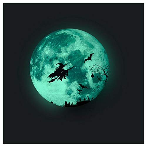 Hunpta@ Halloween Leuchtender Aufkleber Rund Mond Hexe Baum Selbstklebende Wandtattoos Wohnzimmer Schlafzimmer Wand Fenster Dekoration Halloween Party Deko
