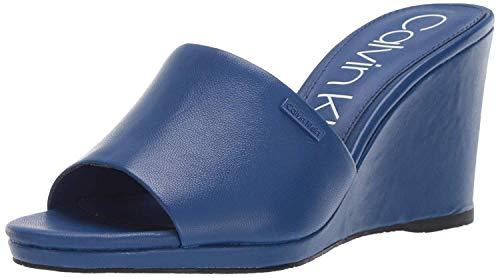 Calvin Klein Damen Britta Keilabsatz-Sandale, Königsblaues Nappa, 35.5 EU