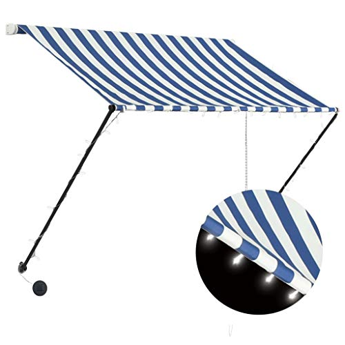 Goliraya Toldo retráctil con LED Toldo Terraza Toldos Impermeables Exterior, Azul y Blanco 200x150 cm