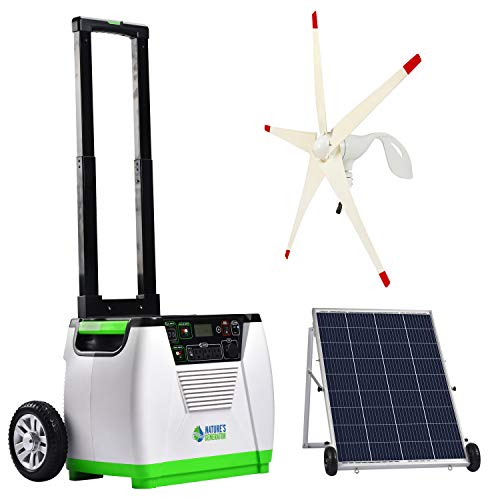 Nature's Generator Gold WE System 1800W Solar & Wind Powered Pure Sine Wave Off-Grid Generator + 100W Solar Panel + Wind Turbine, w/Infinite Expandability, Gasless for Day and Night Use
