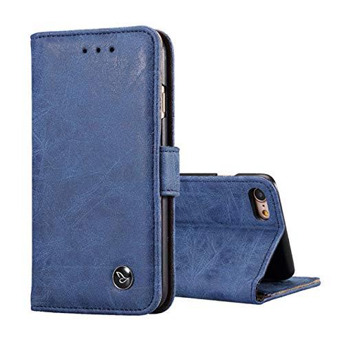 Lincom Bookcase Schutzhülle für iPhone 6 / 6s. Spaltleder Handytasche Hülle Handycase Schutzhülle Handy Hülle Etuis Bag Wallet (Blau)