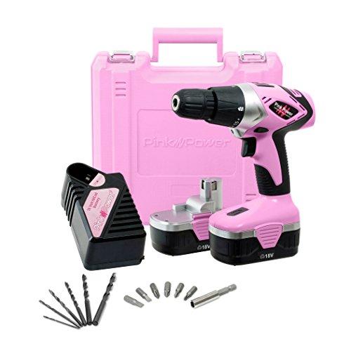 Pink Power PP182 18V Cordless Drill Set for Women- Tool Case