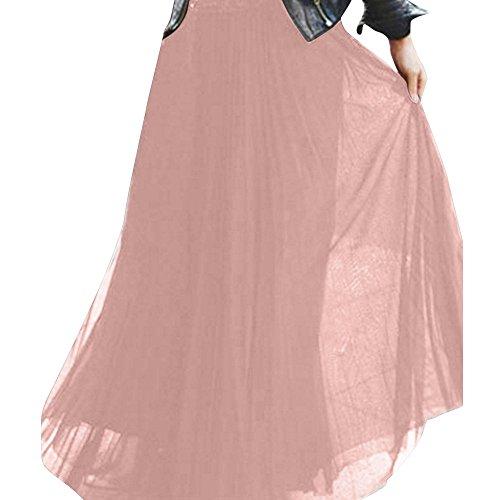 HCFKJ Faldas Mujer Cortas Falda Larga De Cadera con Cordones Y Cintura Alta para Mujer Falda De Tul En Color Liso