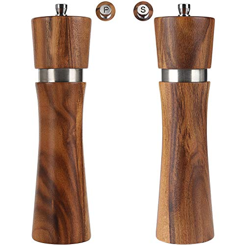 Wood Salt and Pepper Grinder Set, Acacia wood salt and pepper shaker mill kit Manual with Adjustable Coarseness, Tableware Gifts,8 inch 2pcs/ pack (Salt and Pepper mill set of 2)