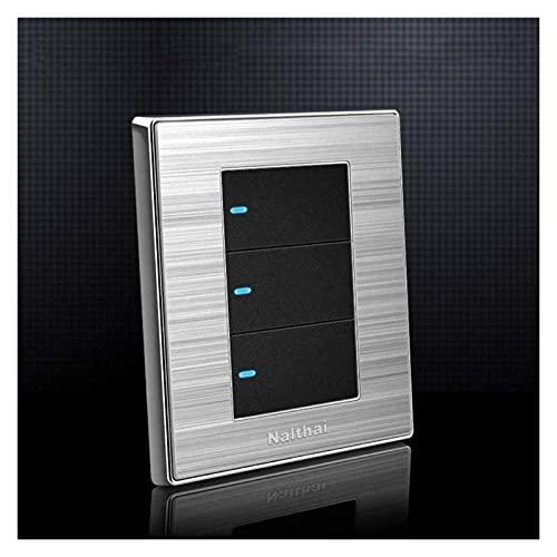 PJDOOJAE Simple 86 Tipo Interruptor de luz de pared Interruptor de Rocker Tres Abrir DUAL CONTROL DE CONTROL DE CONTROL DE INTERRUPTOR LED Indicador de LED Cepillado Cepillado Panel de acero inoxidabl