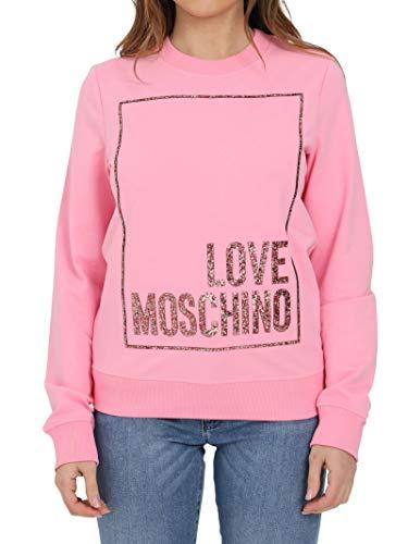 Love Moschino Soft Stretch Cotton Fleece Slim-fit Long-Sleeved Crewneck Sweatshirt Sudadera, Fucsia, 50 para Mujer