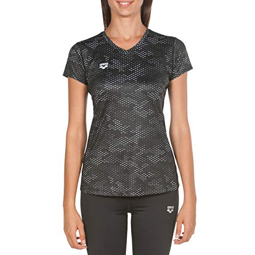 arena ARES5 T-Shirt de Course à Pied en Maille Filet pour Femme Camou Noir/Blanc Taille XL
